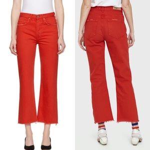 GRLFRND Red Linda Frayed Crop Hem Jeans NWT